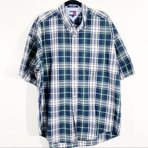 Tommy Hilfiger L 90s Plaid Short Sleeved Button Up